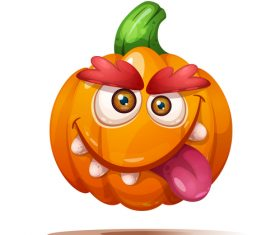 Pumpkin funny expression cartoon vector