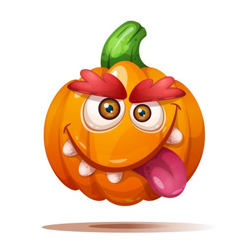 Pumpkin funny expression cartoon vector