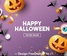 Purple background origami illustration happy halloween vector