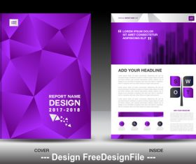 Purple polygon background flyer template vector