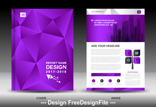Purple polygon background flyer template vector