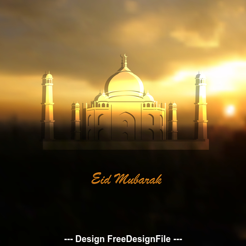 Ramadan Kareem greeting card with Islamic Mosque and sunrise vector