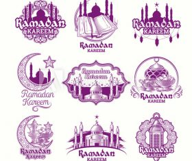 Ramadan Karim badge vector color illustration