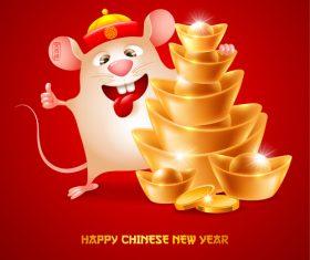 Rat cartoon new year 2020 illustration vector