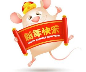 Rat holding New Year banner vector