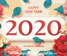 Rat new year flower decoration banner vector