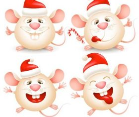 Rat vector wearing a christmas hat