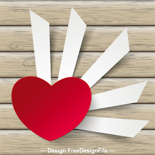 Red Heart Cutting Banners vector