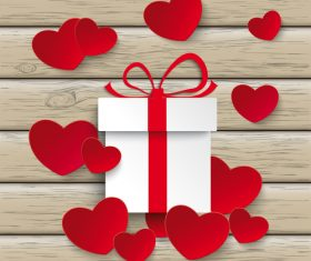 Red White Hearts Gift Wood vector