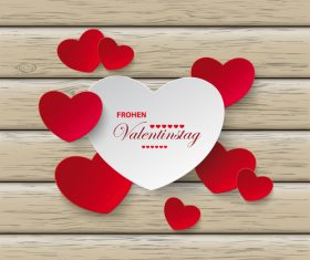 Red White Hearts Valentinstag Wood vector