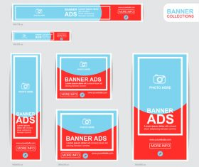 Red and blue banner advertising templates design vector