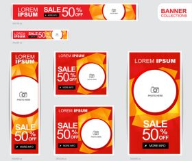 Red and gold banner advertising templates design vector