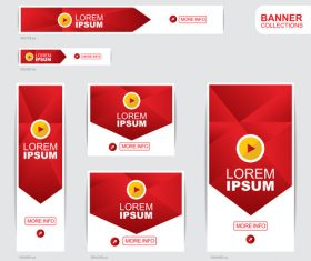 Red and yellow banner advertising templates design vector