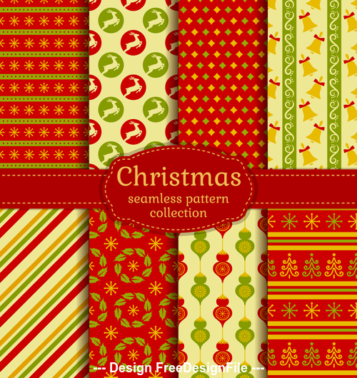 Red and yellow christmas seamless pattern vector