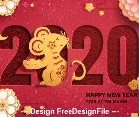Red background golden rat festive 2020 new year vector