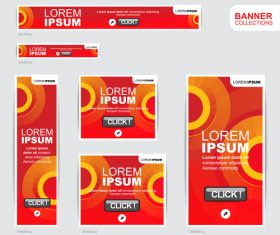 Red banner advertising templates design vector