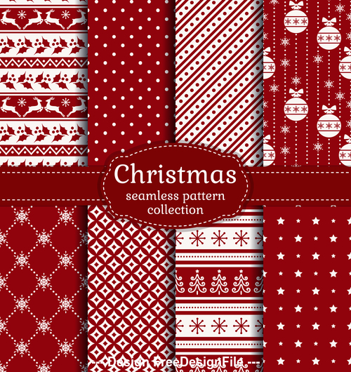 Red christmas seamless pattern vector