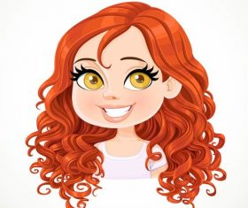 Red curly cute girl portrait vector