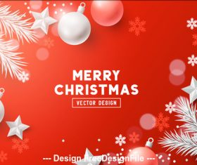 Red decorative card merry christmas vector