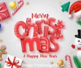 Red font christmas card background vector