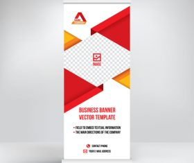 Red geometric roll-up banner design vector
