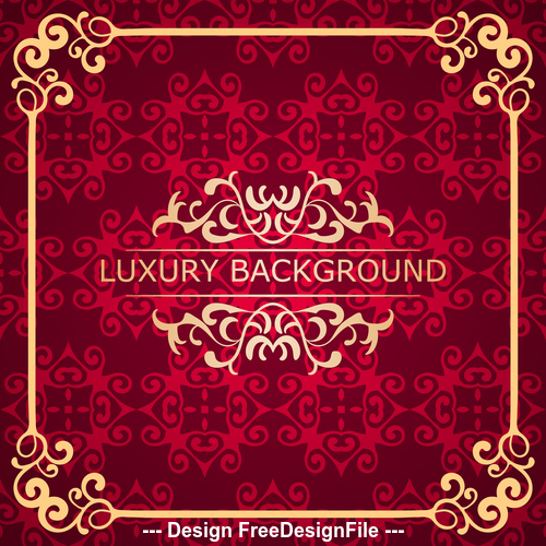 Red luxury background with golden frame vector