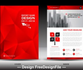Red polygon background flyer template vector