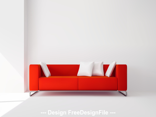 Red sofa and cushion vector