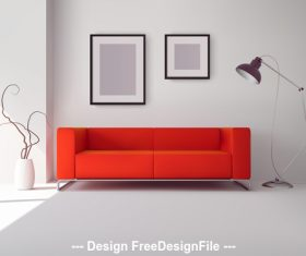 Red sofa in living room vector