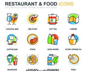 Restaurant food icons vector