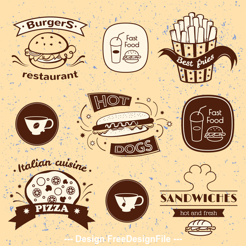 Retro typography fast food signs vector