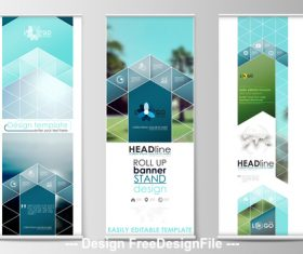 Rhombus Banner roll-up design vector