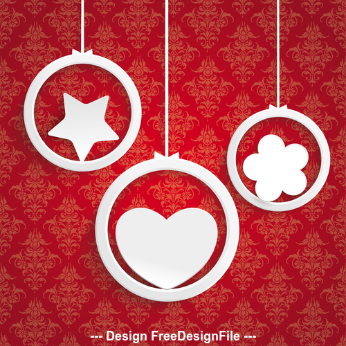 Rings White Heart Flower Star Ornaments vector