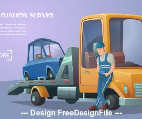 Roadside assistance retro tow truck vector