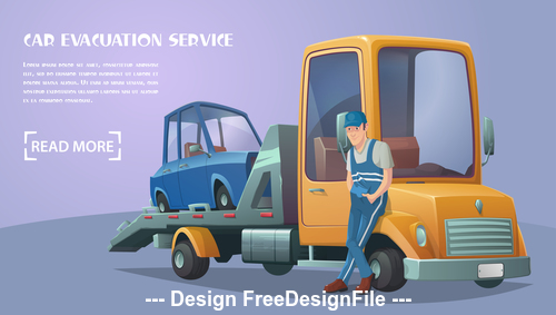 Roadside assistance retro tow truck vector