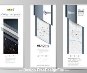 Roll-up grey banner design vector