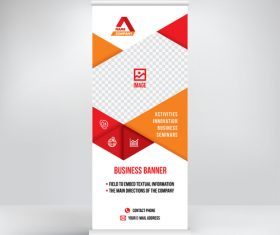 Roll-up two-color banner design vector