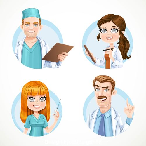 Round avatars portraits of doctors and nurse isolated on white background vector