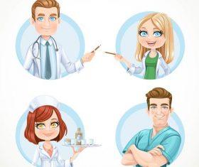 Round avatars portraits of doctors and nurse vector