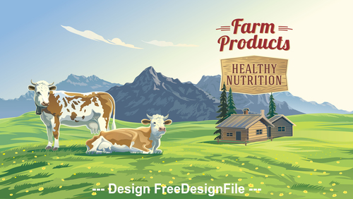 Rural landscape and cows vector