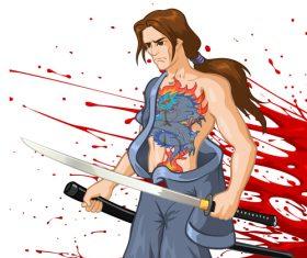 Samurai comics vector
