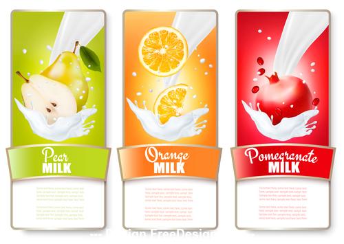 Seasonal fruit splash in milk labels vector