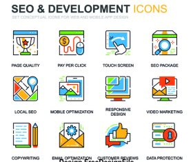 Seo development icons vector