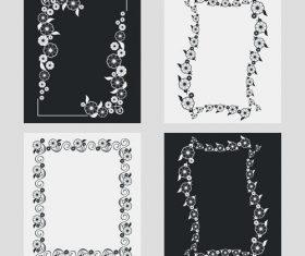 Silhouette flower vertical frames vector 02
