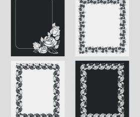 Silhouette flower vertical frames vector 04