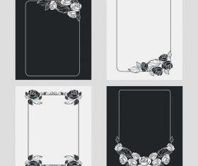Silhouette flower vertical frames vector 05