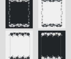 Silhouette flower vertical frames vector 06