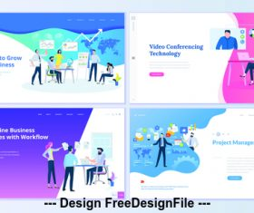 Simplified business process page isometric vector concept illustration