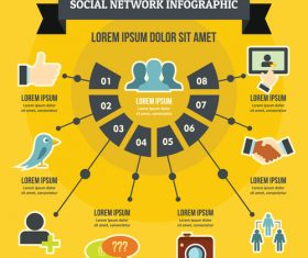 Social network information vector flat style