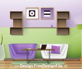 Sofa and decorative wall vector